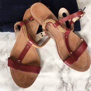 Brooks Brothers Red Leather and Rope Sandals